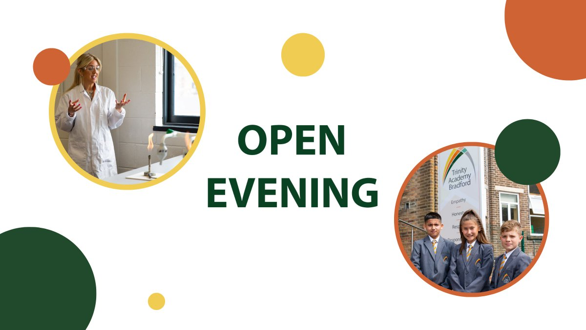 In less than a month (21st September) we will be hosting our @TrinityAcadBrad Year 6 Open Evening. Doors will open at 4.45pm, with talks being hosted at 5pm and 6pm. We can't wait to see you there!