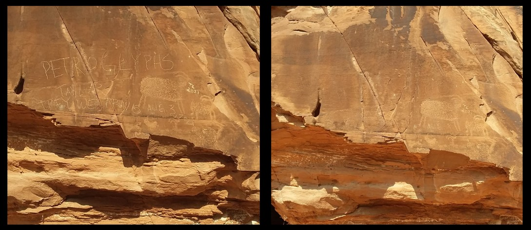 """Photos: One photo showing vandalism to a petroglyph reading """"Petroglyphs Taylor Trey Wes Travis Aug. 3, 2021"""" and another showing the site after an emergency treatment."""