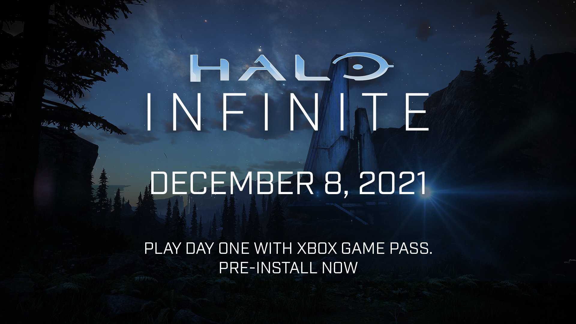 """Lanscape view of a Halo installation. Text reads """"Halo Infinite December 8, 2021"""" and """"Play day one with Xbox Game Pass"""" and """"Pre-install now"""""""