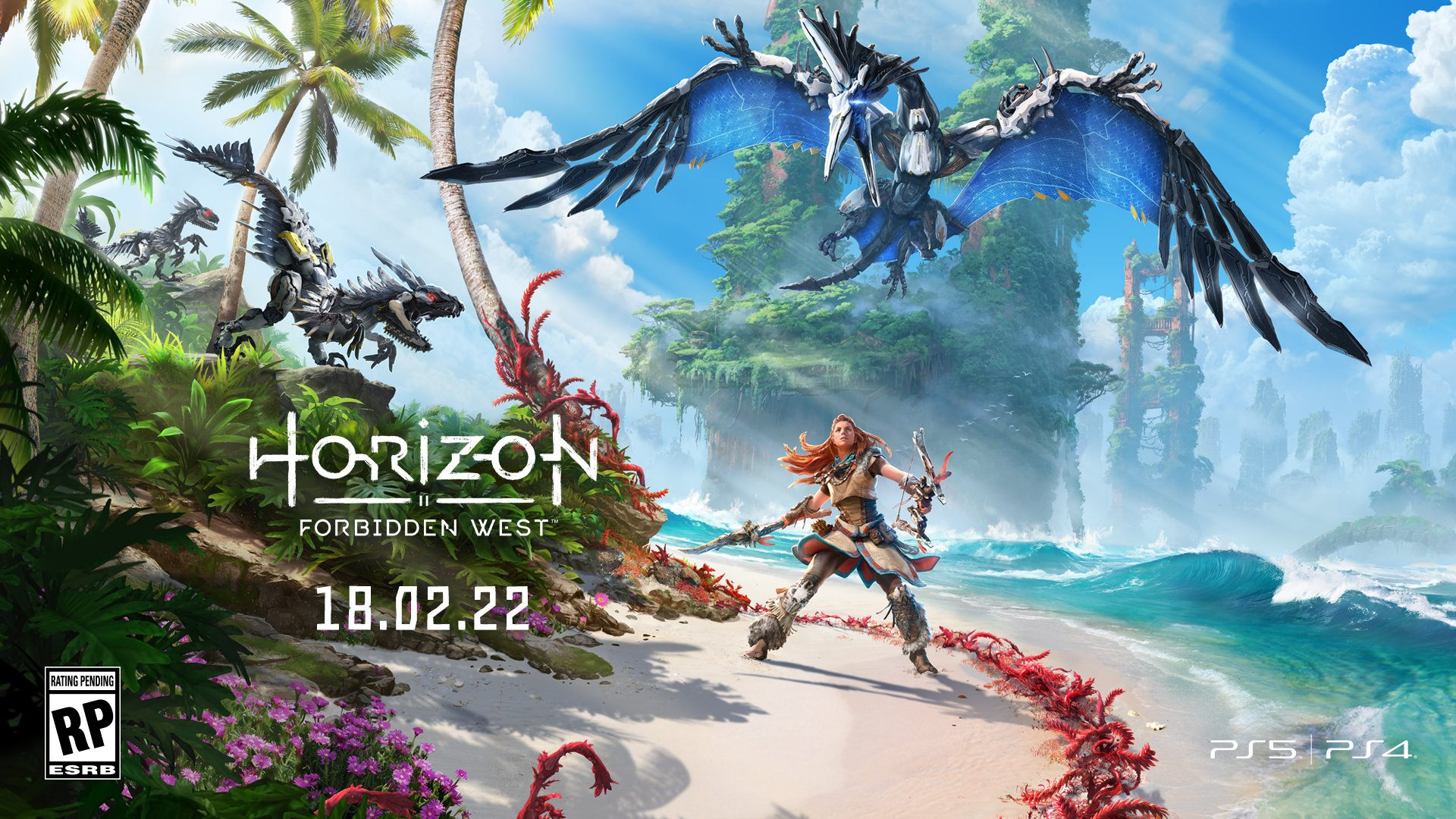 The key art for Horizon Forbidden West, with the release date 18 February 2022.
