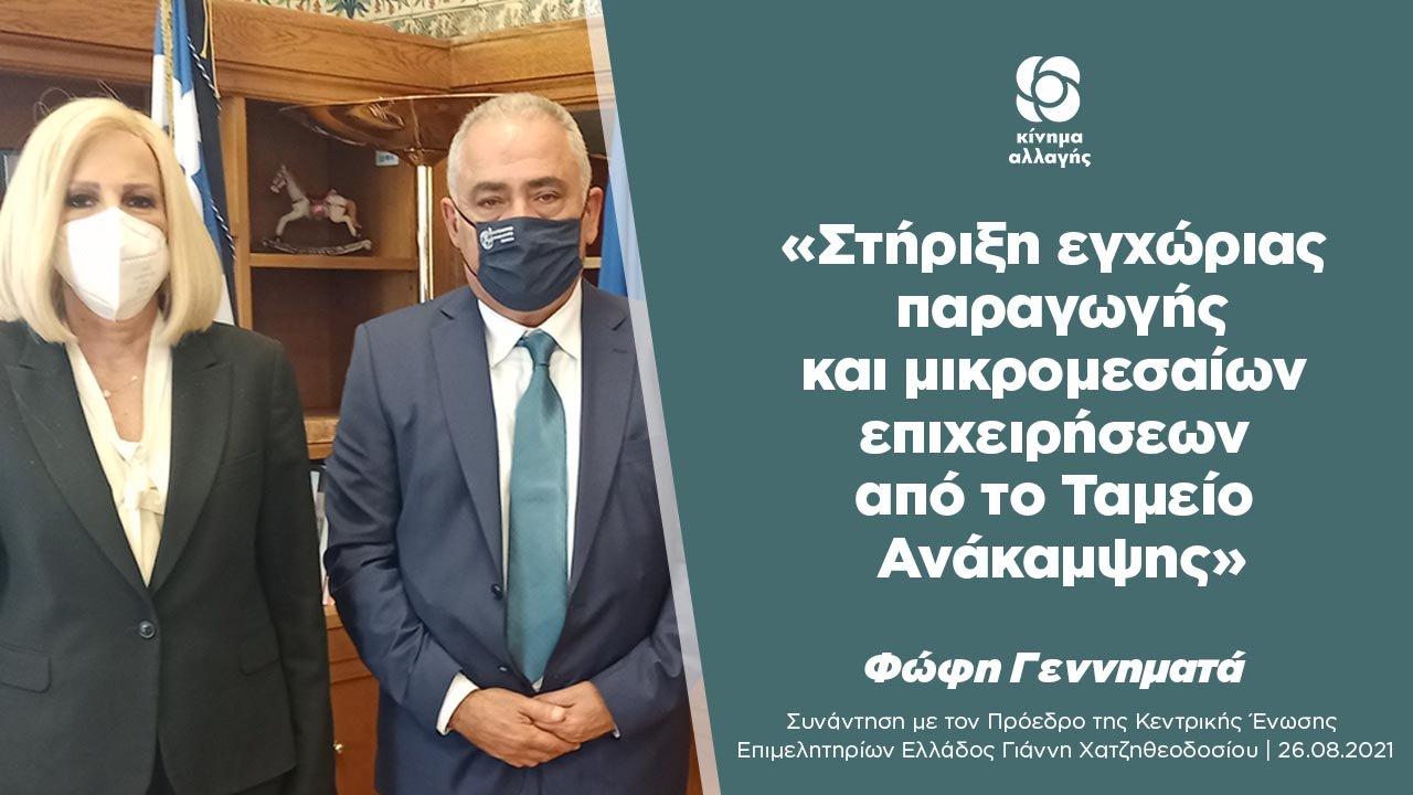 Συνάντηση Φώφης Γεννηματά με τον νέο πρόεδρο της Κεντρικής Ένωσης Επιμελητηρίων