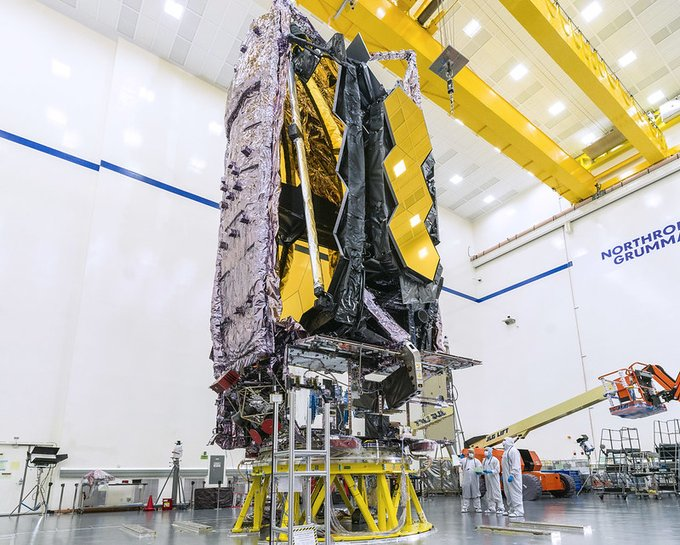 James Webb Telescope in clean room at Northrop Grumman in California
