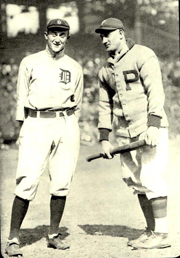 Ty Cobb and Honus Wagner at the 1909 World Series. https://t.co/7fGM1uW1G5