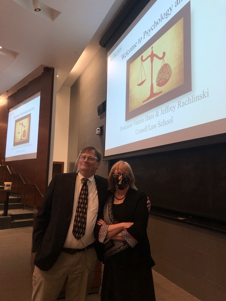 Starting our fall class in Psychology and Law at @CornellLaw to a full house. Mask, check! Shield, check! We are on!