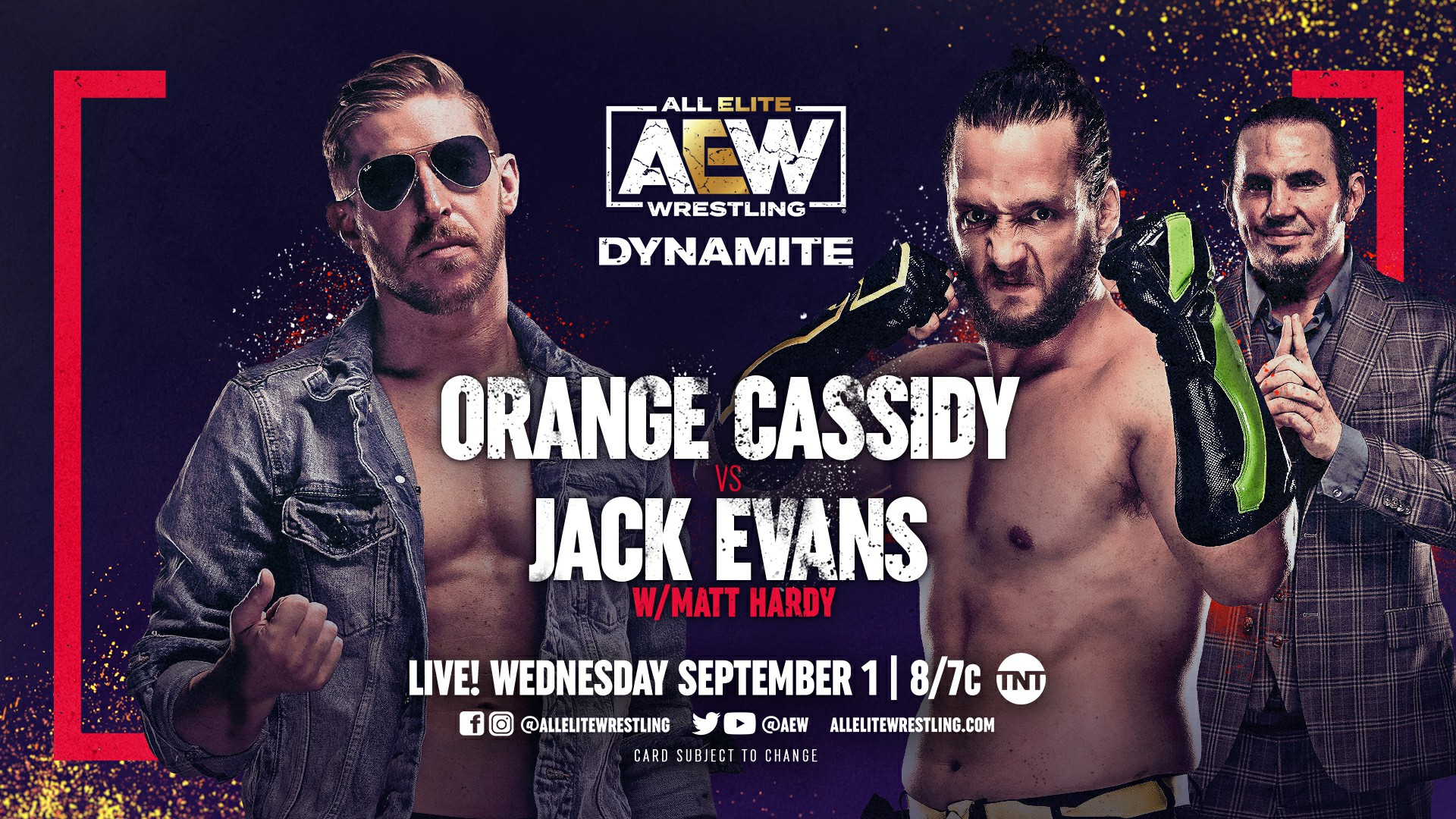 """All Elite Wrestling on Twitter: """"After defeating @MATTHARDYBRAND last week, @orangecassidy faces @JackEvans711 of the #HFO with Big Money Matt in his corner THIS WEDNESDAY (9/1) on the 100th episode of #AEWDynamite"""