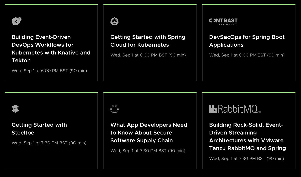 Quite impressed with the workshop schedule at the @SpringOne conference, covering anything from Kubernetes to Spring and everything in between. Let's get that hands-on experience 🙌 Register for free here: bit.ly/Sp1KG @VMwareTanzu #TanzuPartner #SpringOne
