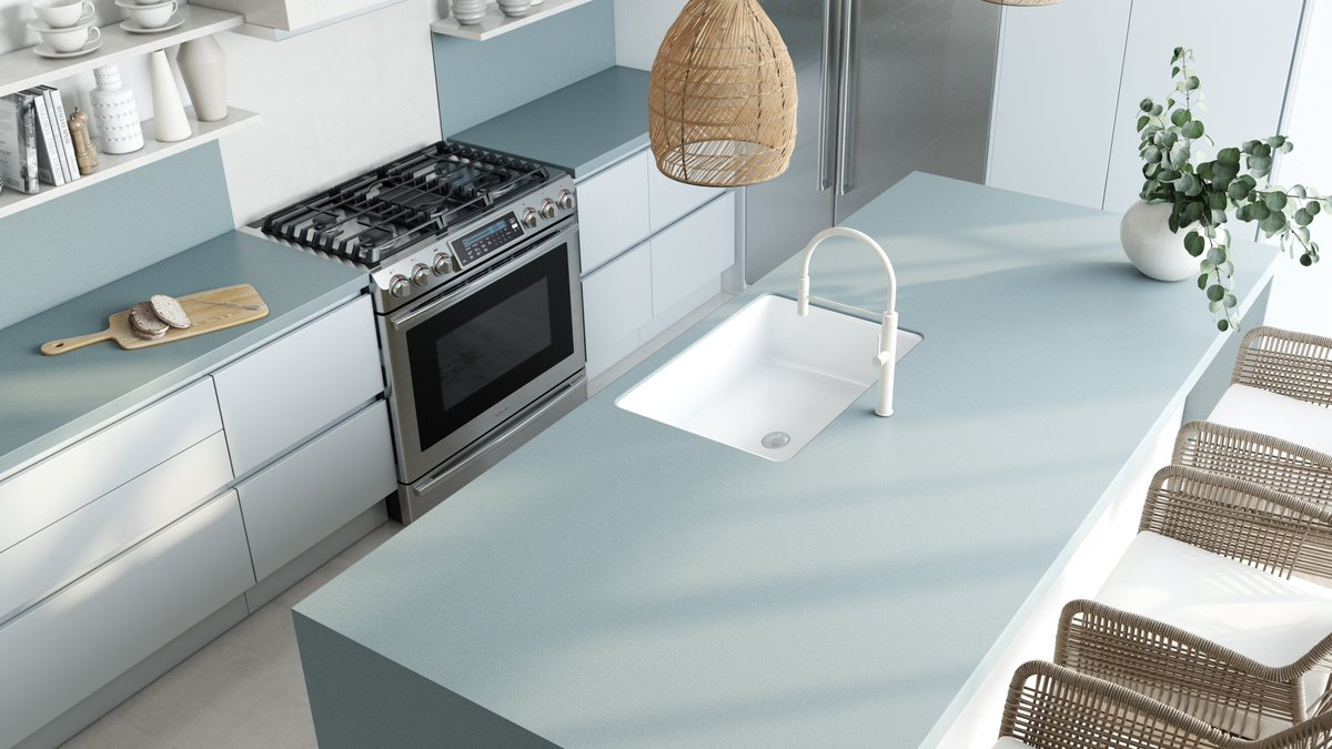 Color is the best solution to renovate your kitchen, providing it with joy and optimism. Our proposal is pairing a Mediterranean blue such as #Silestone Cala Blue (bit.ly/3gQlNrv) with nude and white colors and wood. 📝 Save this tip for your next refurbishment. 🛠