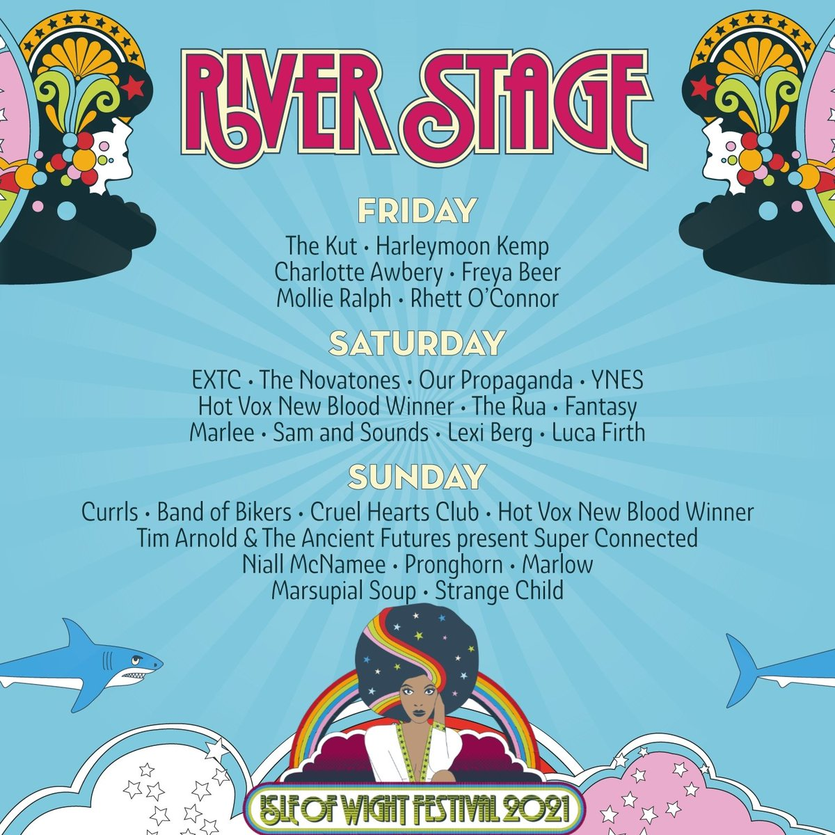 And set number 2 at Isle of Wight Festival   Our spiritual home at the festival under the new name of the River stage where we made our name. Year on year the numbers have grown to unbelievable levels.  Much love  The Novas are back #IOW2021  #cinchxIOW #shitfacedinafield