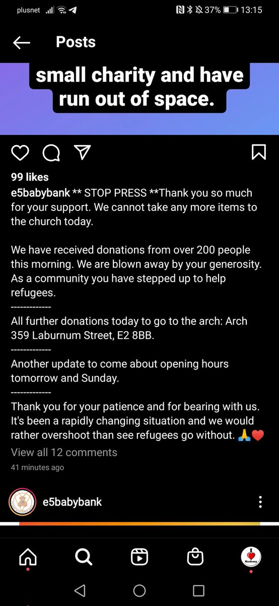 Update from E5 Baby Bank, people able to donate items to help children from Afghanistan should now drop items to 359 Laburnum Street E2 8BB