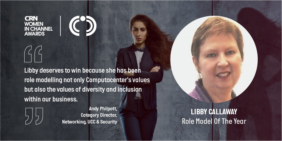 Congratulations to Libby on being shortlisted for the Role Model of Year category in the @CRN_UK #WomeninChannel Awards 2019! Click here bit.ly/2OCxKpV to discover why Andy Philpott, Category Director-Networking, UCC & Security nominated Libby.