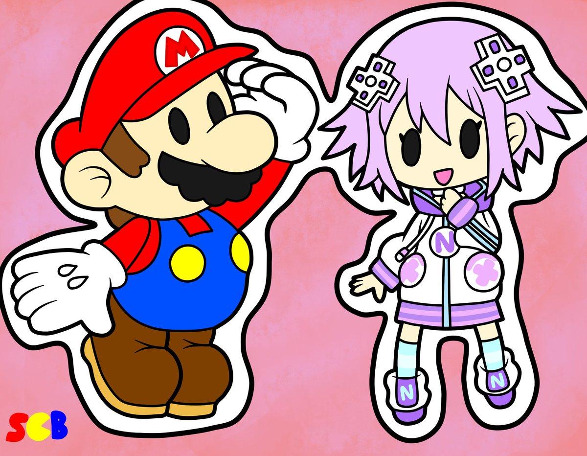 ✂️Paper Mario & Paper Neptune✂️ #Mario #SuperMario #PaperMario #Neptune #Neptunia #PaperNeptune #HyperdimensionNeptunia #Crossover #Nintendo #Adorable #Cute #Fanart #RemasterThousandYearDoor #RemakeThousandYearDoor
