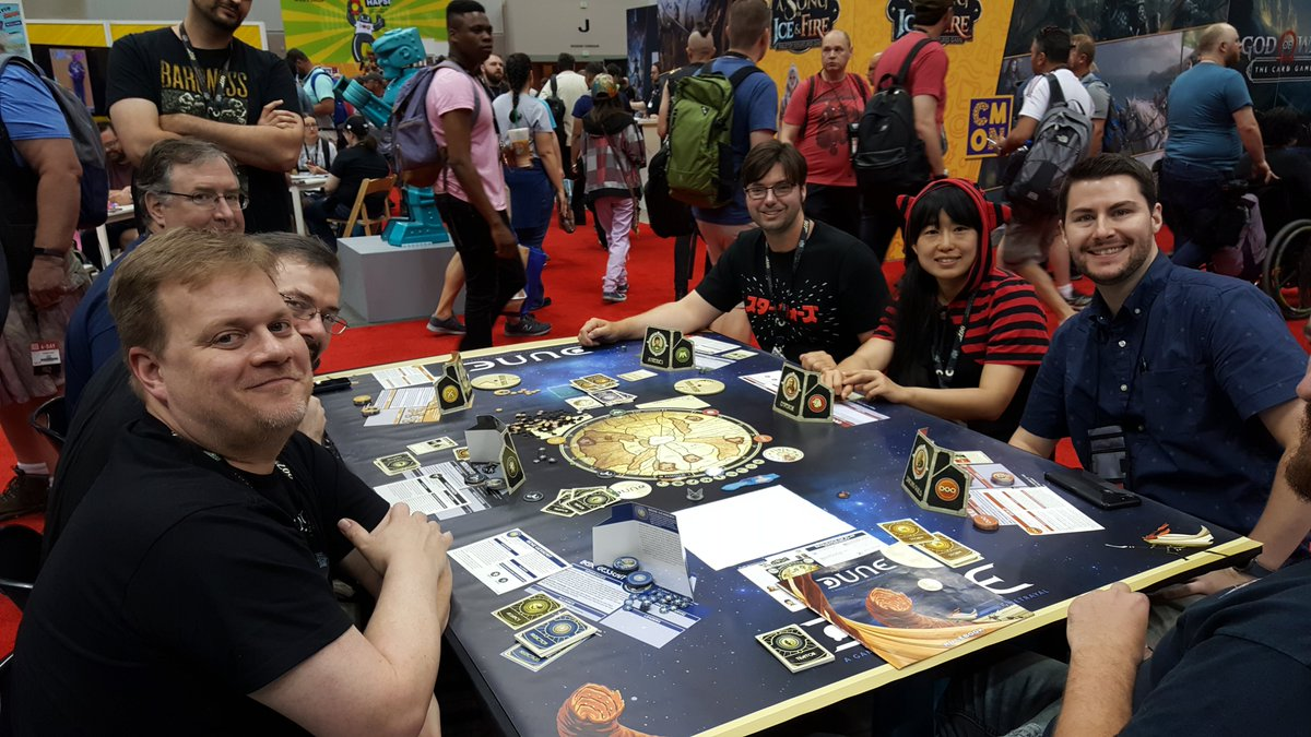 Live pic from Bill. Hangin' at the @GaleForceNine Dune table! Join him again tomorrow Sat, from 10a-12p. See his full schedule here. http://cosmicencounter.com  #boardgamegeek #GenCon #GaleForceNine #Dune #DuneGame #GenCon2019.