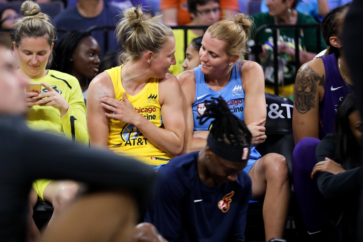 Imagine meeting your love through doing what you love and you both being picked Wnba All Stars because you're loved. Yeah, I bet it feels something like that... @alliequigley @Sloot22 @TheSkyShowCHI #WNBAAllStar #couplesgoals