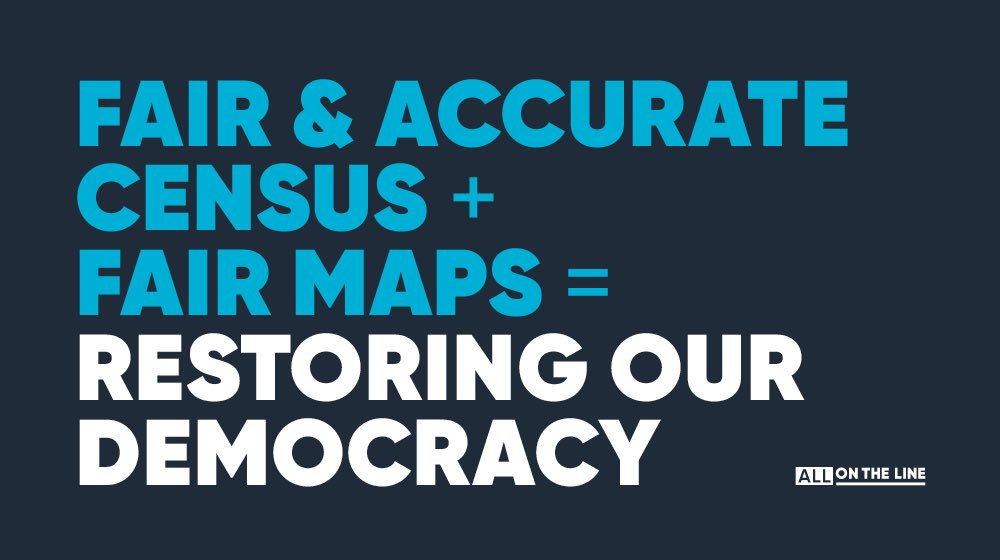 Recent court decisions make it clear that the change we need to restore our democracy has to come from the ground up. @Allontheline's work to ensure an accurate census count and achieve fair maps in 2021 has never been more important. Join us today: http://bit.ly/aotl44tw719