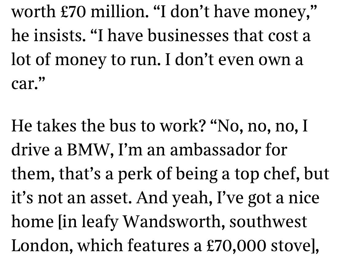 From the Jason Atherton interview in The Times