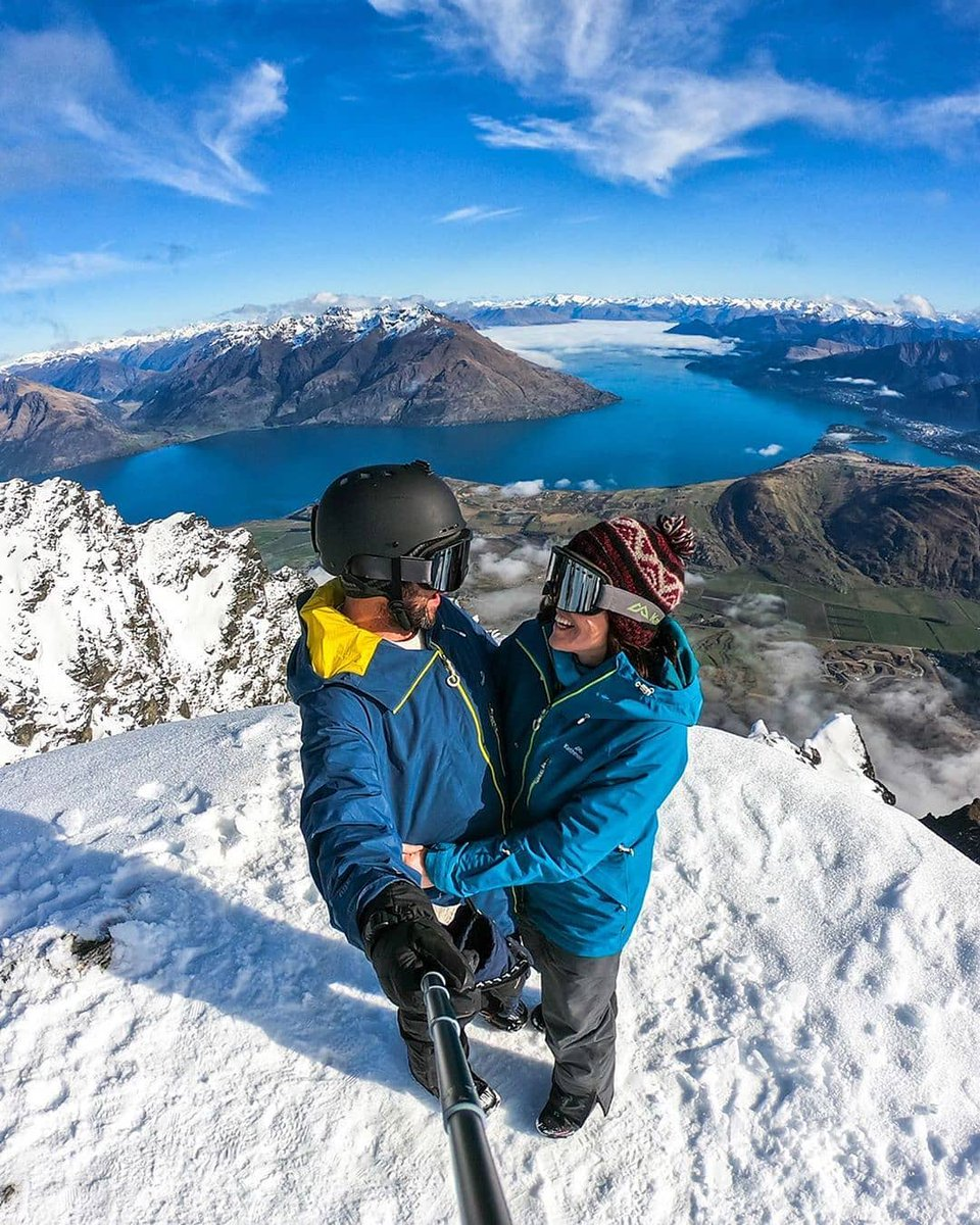#MeetTheWorld: How can you possibly resist a selfie🤳when the backdrop looks like this? After two weeks of snowboarding in New Zealand, Alesha and Jarryd ended their trip at the top of The Remarkables admiring this spectacular view🏔️📸: @nomadasaurus
