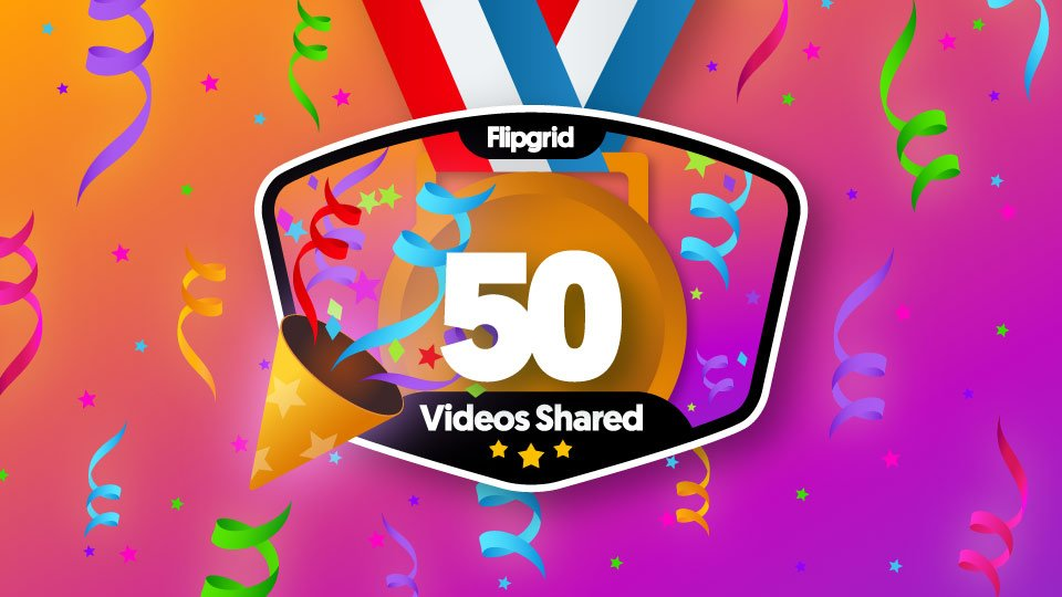 I just earned a new @Flipgrid badge: 50 Response videos! I'm a champion of student voice.