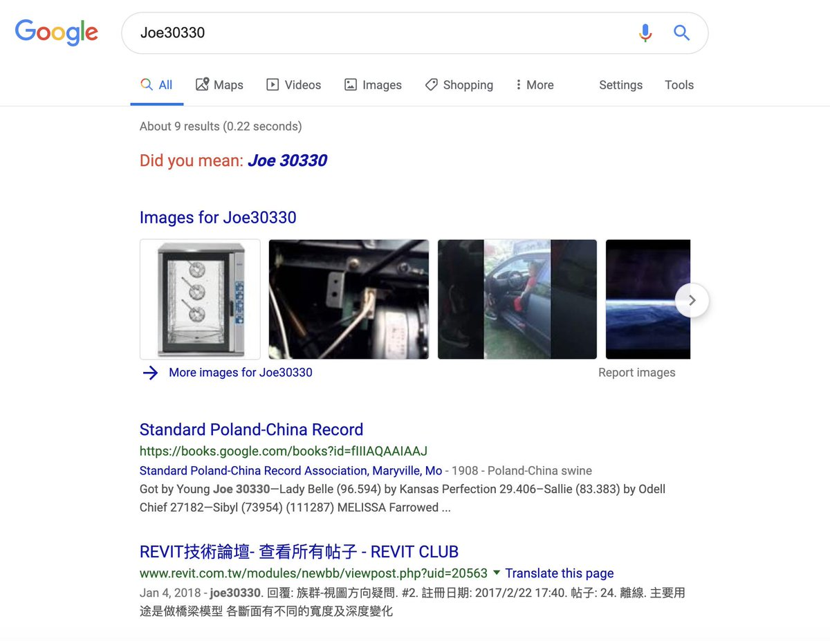 If you 'go' to Joe30330 this is what Google pulls up: