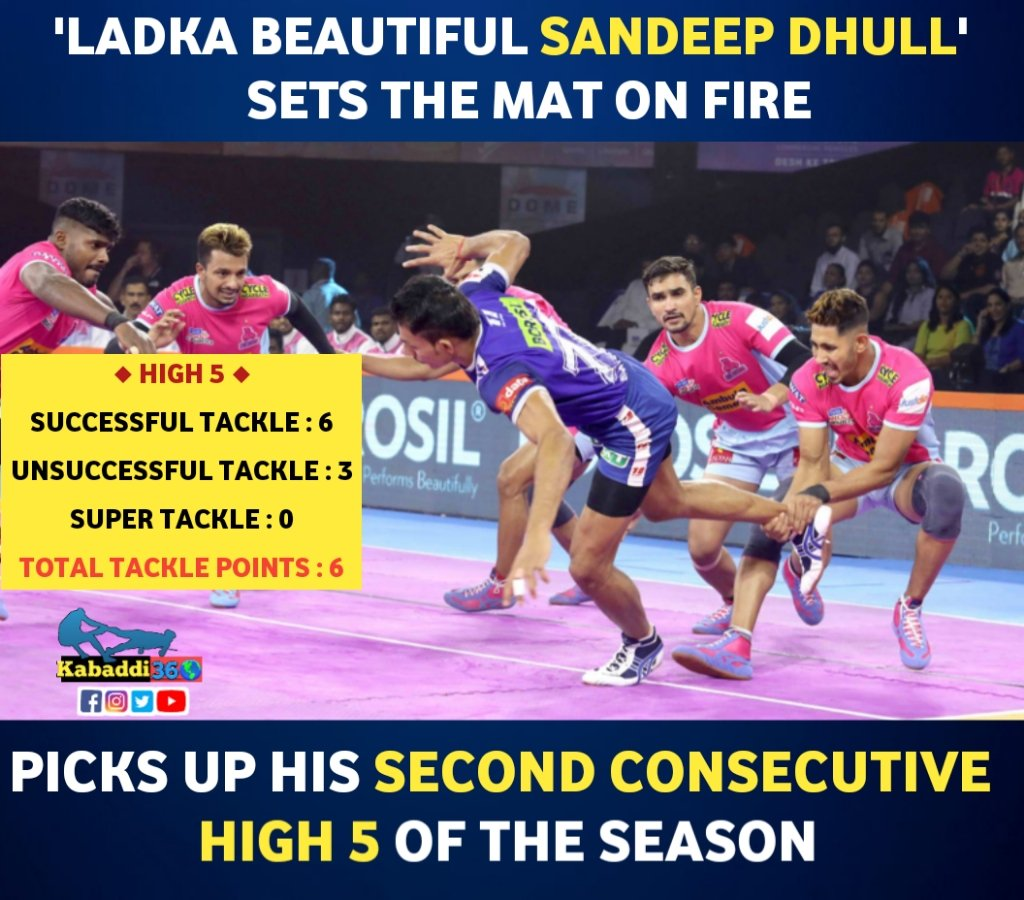 Left corner Sandeep Dhull helps his team to clinch victory against Haryana Steelers.  #SandeepDhull  #High5  #vivoprokabaddi  #PKLwithKabaddi360