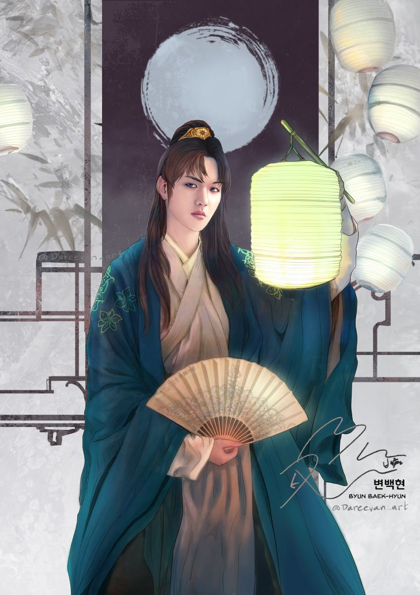 Introducing My Joseon Art Series of EXO Members: Baekhyun.   I incorporate a Lantern to represent his power of light.   I created this as an entry for Photobook FanPage Event.   #FanBook #Baekhyun #UNVillage #exofanart<br>http://pic.twitter.com/CfOvLKMCoS