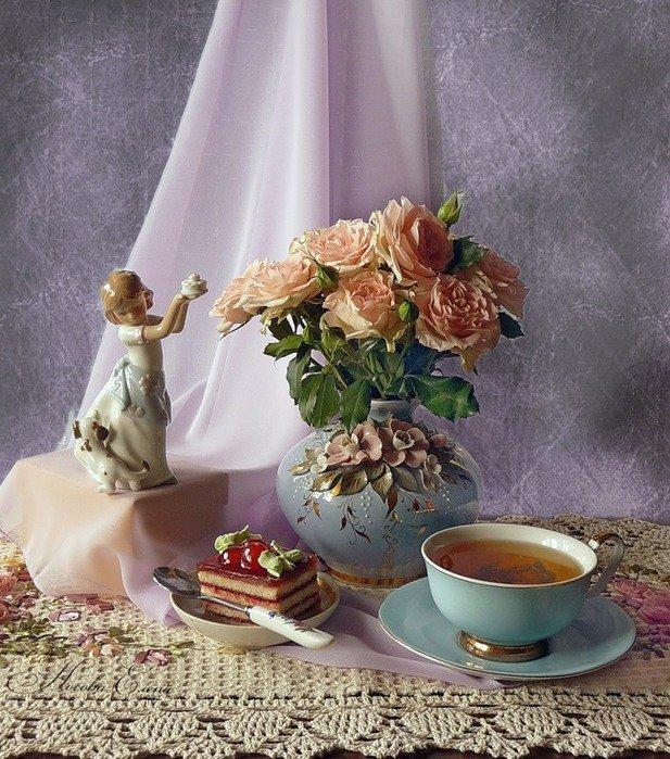 Доброе утро старинные картинки с розами