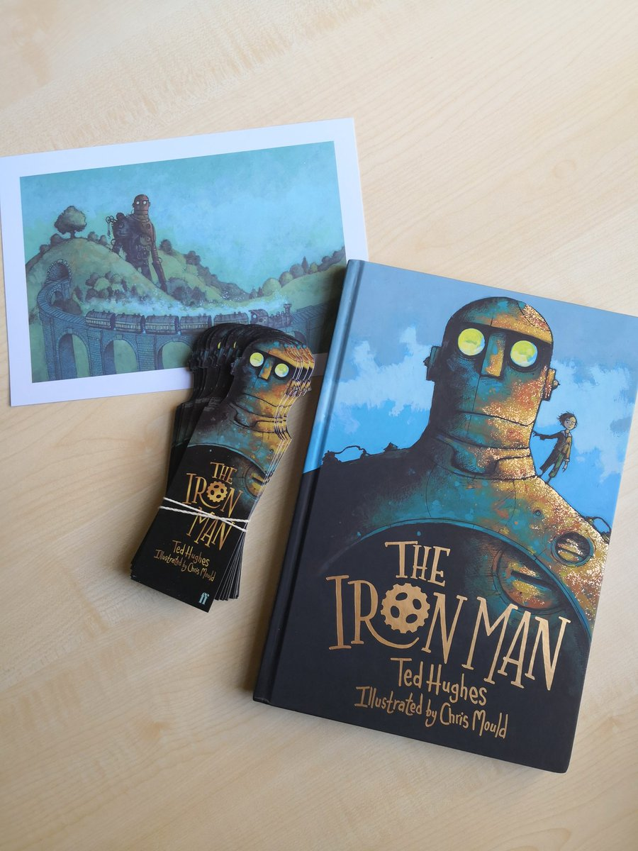 Iron Man Giveaway Alert for publication day.  So,  this book with extra scribbles in, plus print plus bumper bookmark pack. RT and be following to win. #ReturnOfTheIronMan #illustration #penandink #publicationday #tedhughes @FaberChildrens https://t.co/G7eYH0yGIp
