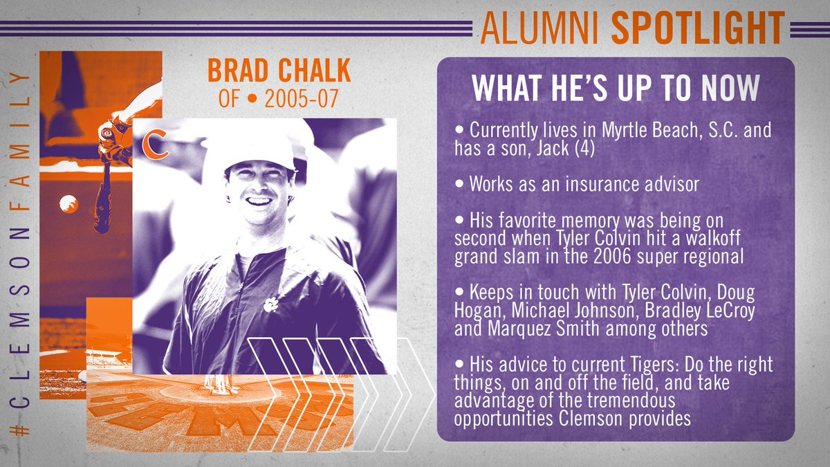 Clemson Baseball On Twitter Former Tiger Brad Chalk Hit 356 With 139 Runs 213 Hits And 32 Stolen Bases In 177 Games As The Starting Center Fielder From 2005 07 Under Head Coach