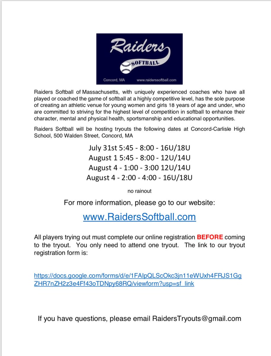 Raiders Softball MA (@raiderssbma) | Twitter