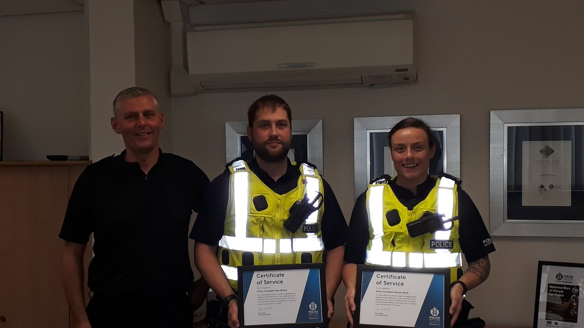 Really pleased to meet with these two officers today and recognise their good work. In June they attended an incident whereby their swift decision making undoubtedly saved the life of a member of the public. Well done @Lanarkshire_Pol @EKRuthCambusPol