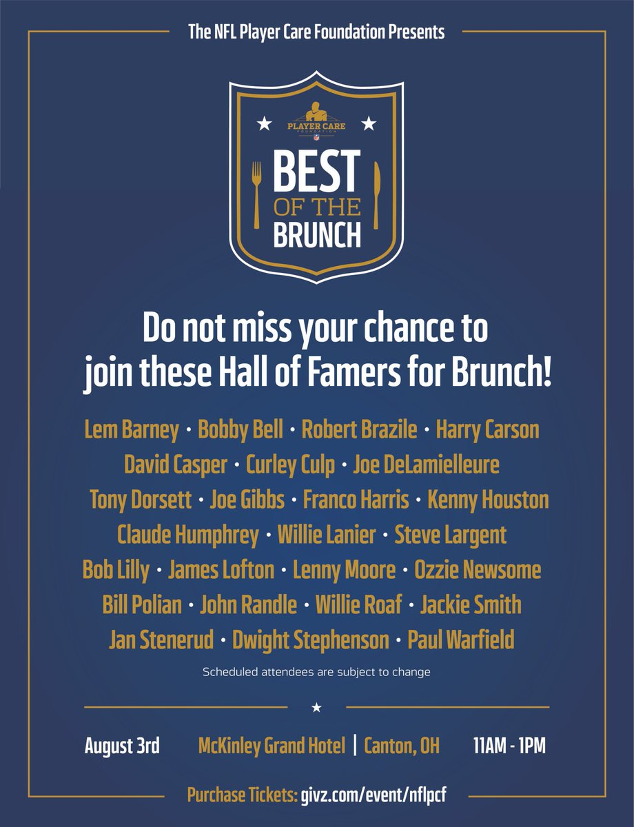 Have you seen this guest list!? You wont want to miss the first annual Best of the Brunch this Saturday, August 3rd in Canton, OH. To purchase tickets while supplies last: givz.com/event/nflpcf #BestoftheBrunch #NFLPCF