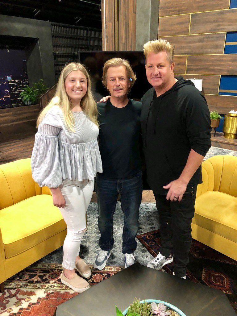 We stopped by #LightsOut with @DavidSpade yesterday. My daughter Brooklyn is taller than him yes. The floor was leaning so she looks shorter & Spade had heels on, anywho! 😁 Check out the show. It's hilarious! Stay tuned to see what we got up to😜 See ya tonight IRVINE! Let's go!