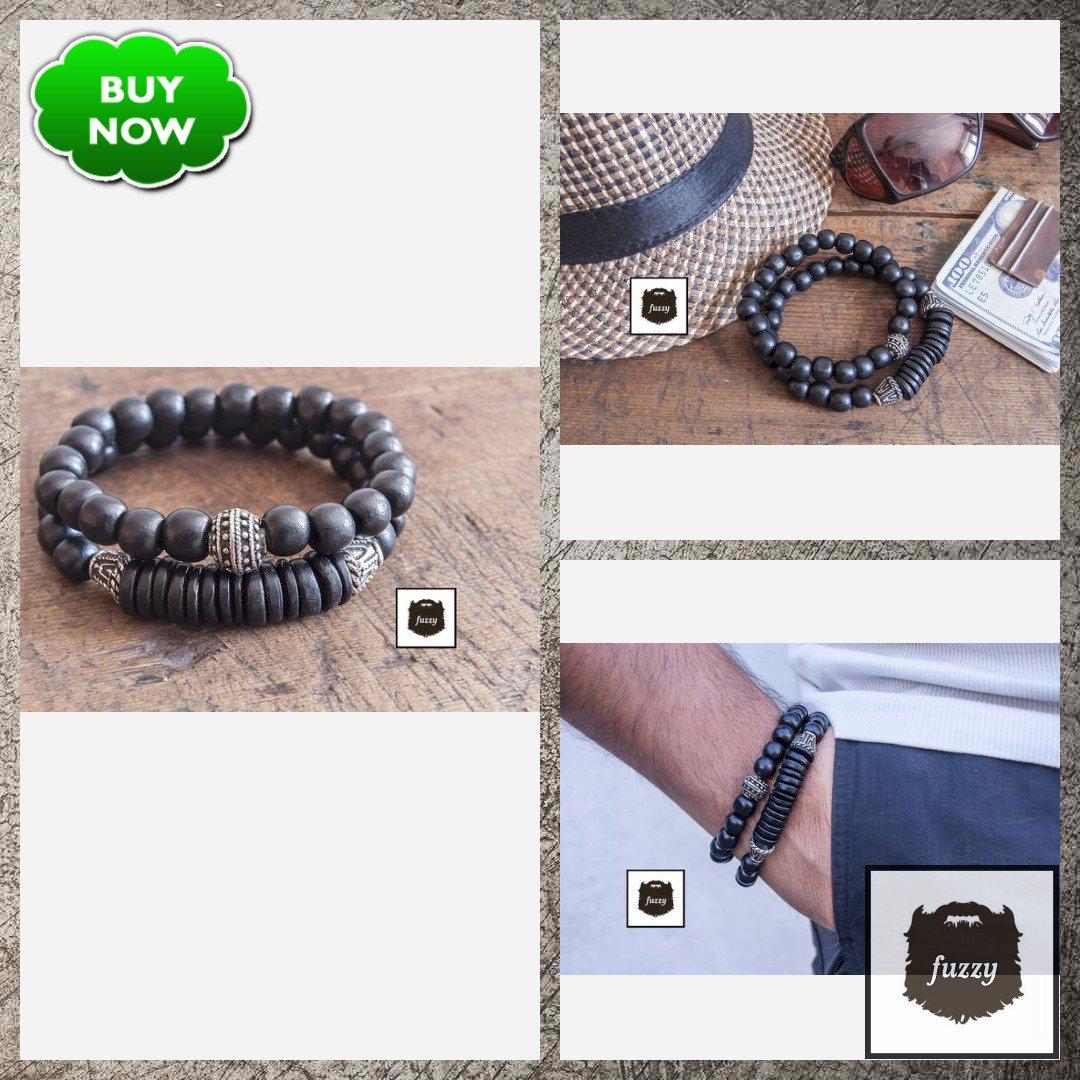 Men Black Bracelet Men Bracelet Mens bracelet set Tribal bangle set of 2 Men beaded bracelet set Hipster bracelet Stretch Bracelet set