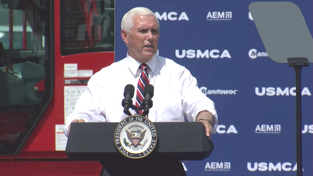 "In PA. delivering another speech for the USMCA trade deal, @VP slams Dem pres cands for embracing ""a radical environmental agenda...even to eliminate coal and fossil fuels."" Pence says @POTUS will always put American jobs, workers and energy first. https://t.co/qIPuZHGvHc"