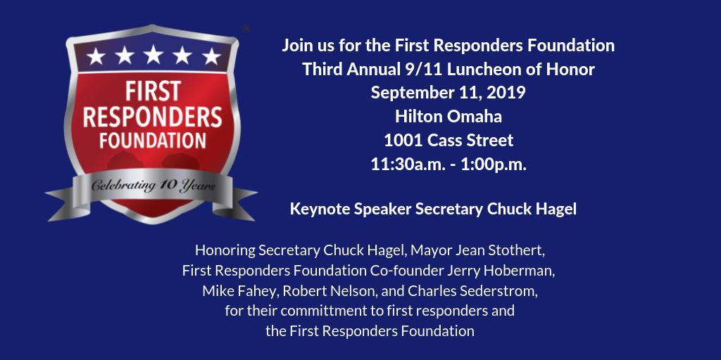 We invite you to the @FRFOmaha Third Annual 9/11 Luncheon of Honor on September 11th 2019. For more information and tickets visit bit.ly/2McIPez. The luncheon will help fund the foundation and the programs for NE and IA first responders! We hope you will join us!