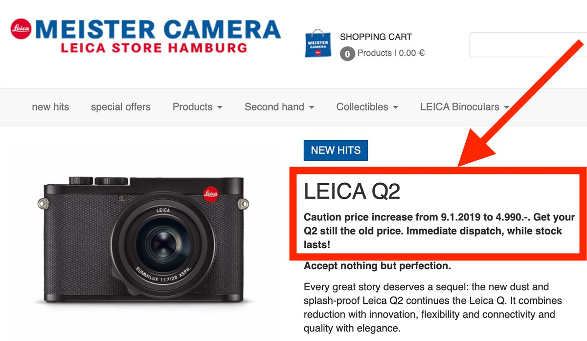 Leica Q2 price increase coming to Germany on September Tweet