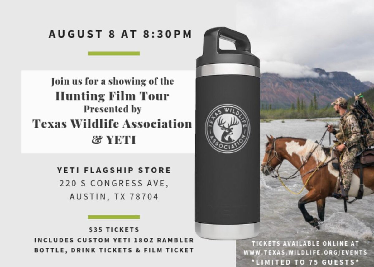fede83d5dde Rambler, drink ticket, and ticket to the screening. All proceeds go to  Texas wildlife conservation. Learn more and get tickets:  http://bit.ly/2MzrfRU ...