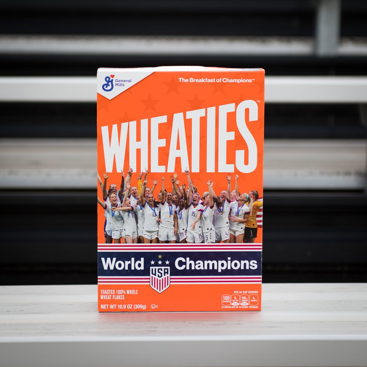 Proud that my partner @wheaties is highlighting the achievements of the US Women's National Team! You can get the limited edition boxes at wheaties.com and 100% of all sales will go to organizations supporting young females through sports.