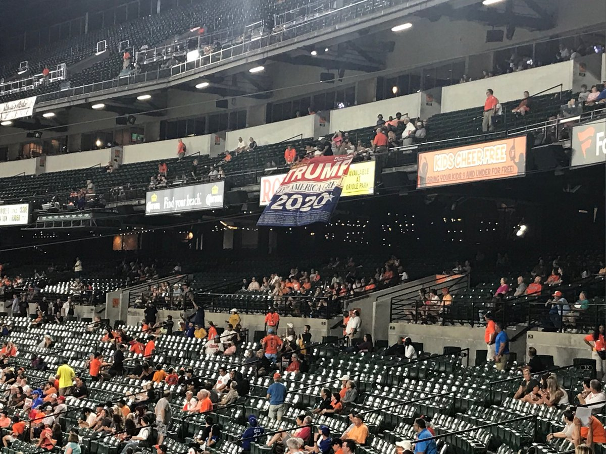 Four people booted from Baltimore Orioles game after displaying pro-Donald Trump banner