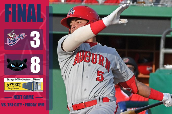 Doubledays drop series against Renegades; return to Auburn tonight