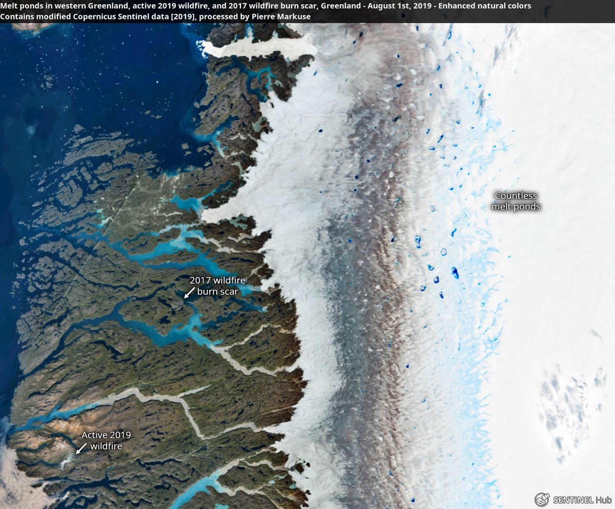Melt ponds🌊 in western Greenland, active 2019 wildfire🔥, and 2017 wildfire burn scar, #Greenland🇬🇱 1 August 2019. Copernicus/Pierre Markuse