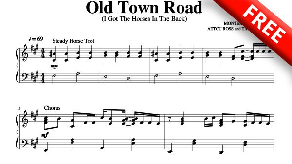 Old Town Road Sheet Music PDF Lil Nas X ft Billy Ray Cyru