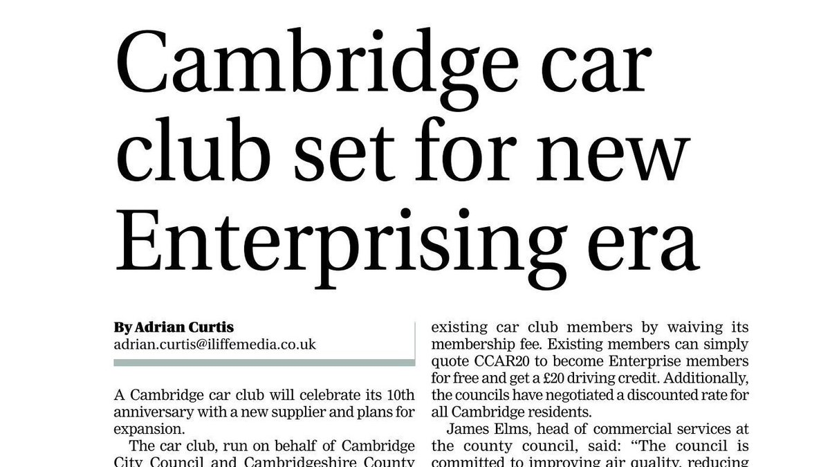 We are very excited to be launching across Cambridge, taking over from the previous provider. Discounted membership for Cambridge residents and previous car club members in the city can be found here... https://lnkd.in/gVQyW2f