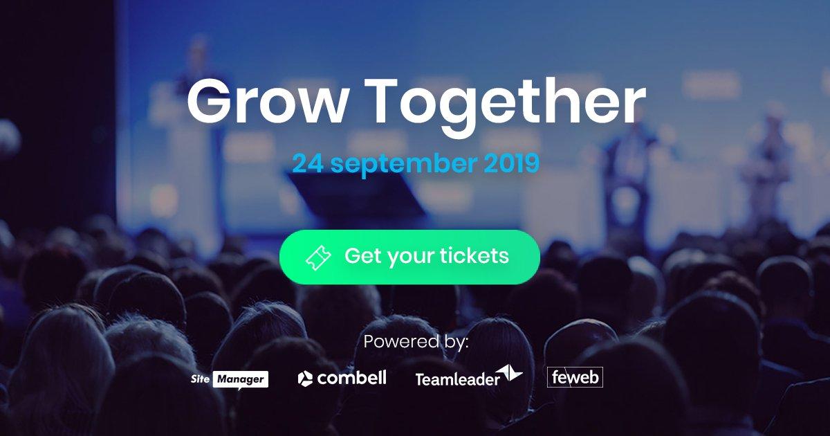 Samen met @TeamSiteManager, @combell en @FeWeb organiseren we Grow Together. Een dag vol inhoudelijke workshops, inspirerende keynotes en interessante product demos voor zaakvoerders van agencies en creatieve bureaus. PM voor een kortingscode van 65%! https://t.co/TE3bRIqe7Q https://t.co/8KPM5M5htR