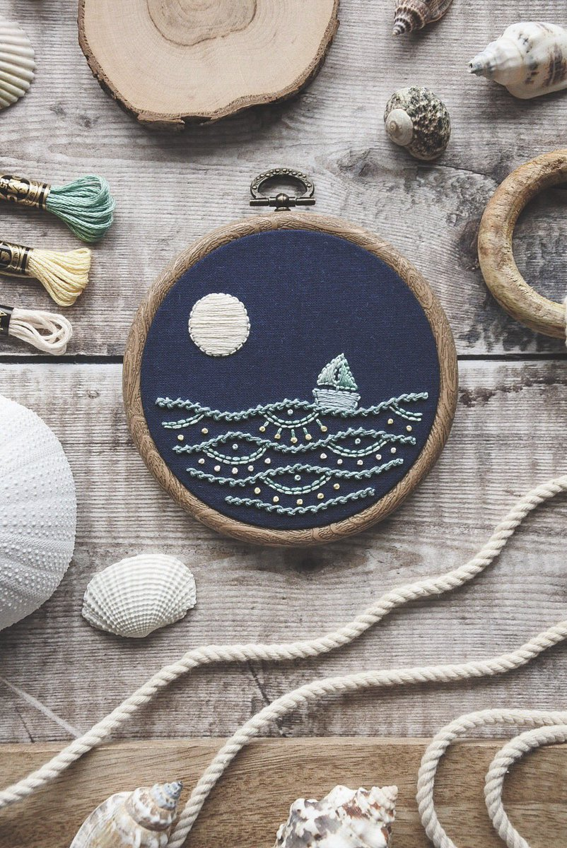 So overwhelmed by how many people have told me they love this design!  Since it's so popular & already sold I'm thinking of adding it to my Etsy shop as a 'made to order' listing. What do you think? ⛵️  #HHLunch #embroidery #art #nautical https://t.co/ICNE9eW6kZ