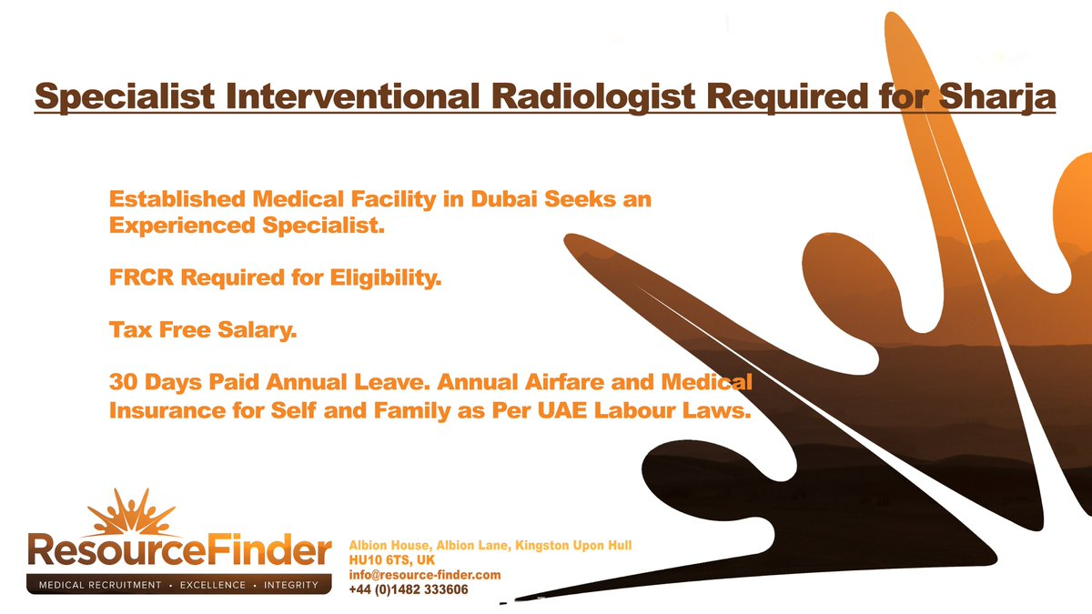 Specialist Interventional Radiologist Required for #Sharja