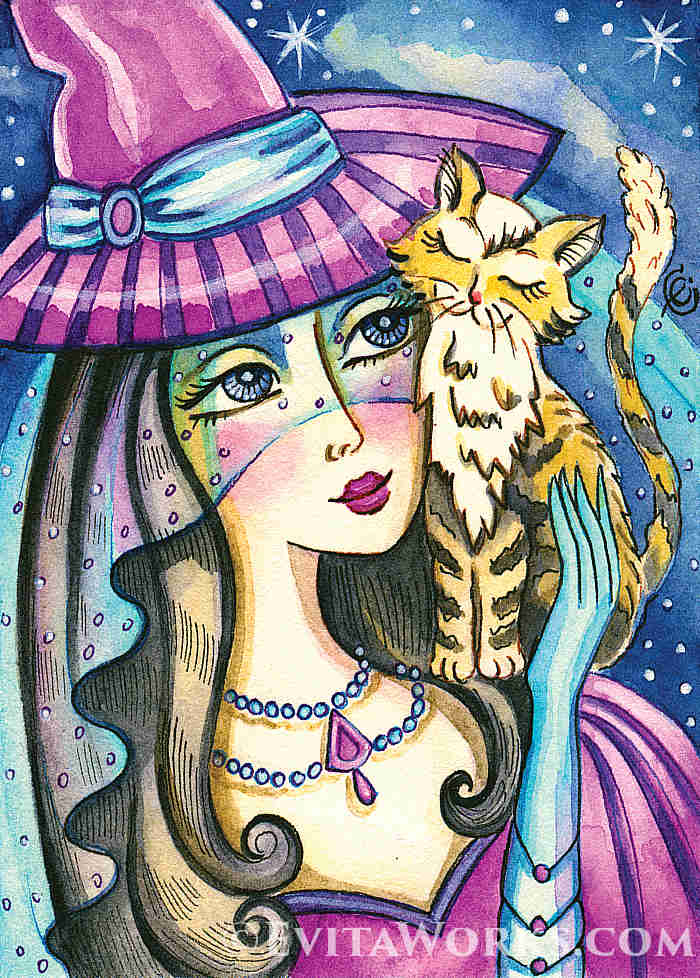 ~ Witch 18 ~ Varied hand-made crafts with this motif available here:  https://evitaworks.com/artwork/ao-witch-18 … -- #Witches #WomanandKitty #womanartgift #girlpainting #artgifts #femininebeauty #beautyartworkpic.twitter.com/CUujjhLza6