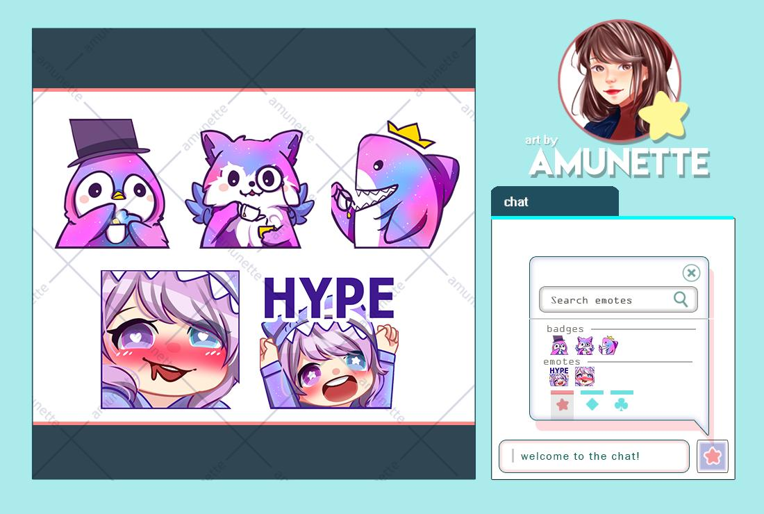 twitch emotes and badges commission at fiverr by v0racity!  really had fun working on this her ideas and character is sooo cute  <br>http://pic.twitter.com/TxsNvS5IyL