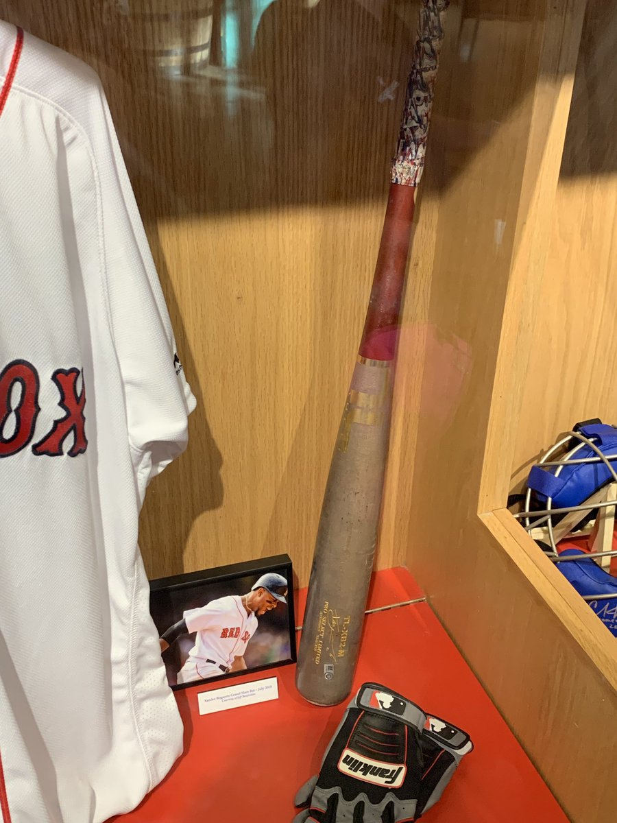 Got to visit our pieces on loan up at @fenwaypark last week, see them in the Royal Rooters Club. Bogaerts grand slam bat, Sandy Leon glove, Christian Vazquez Father's Day gear, Johnny Peacock 1943 road uniform. <br>http://pic.twitter.com/T49Ir9KZPU