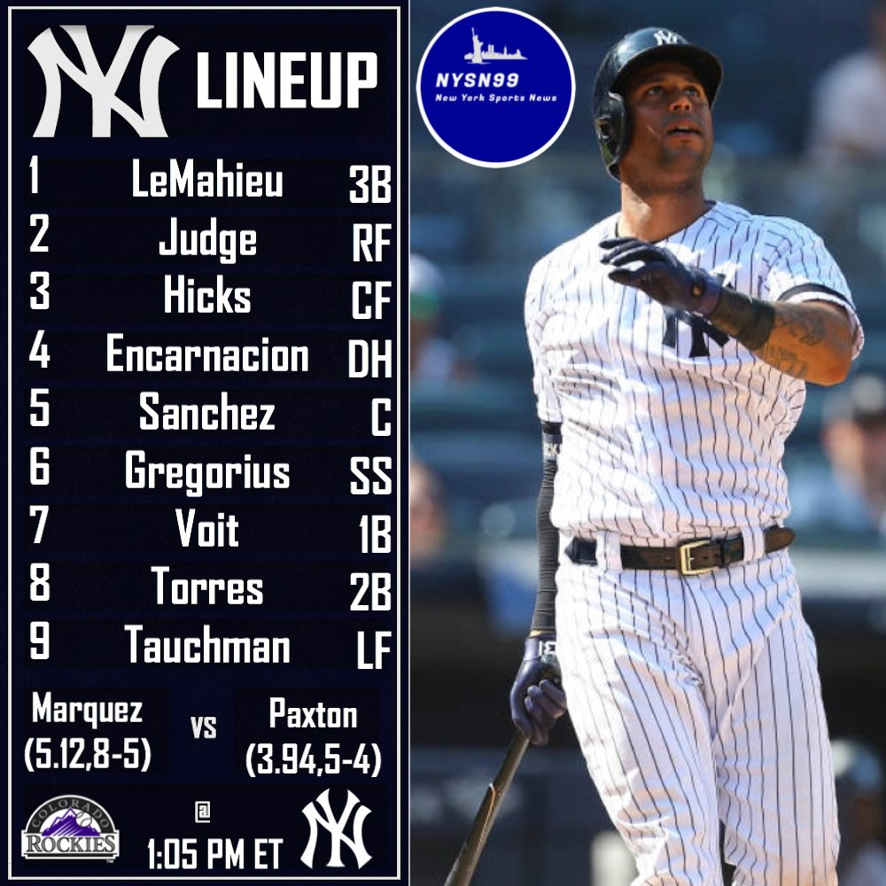 The Yankees take on the Rockies today at 1:05 PM ET looking for the series sweep! #letsgoyankees