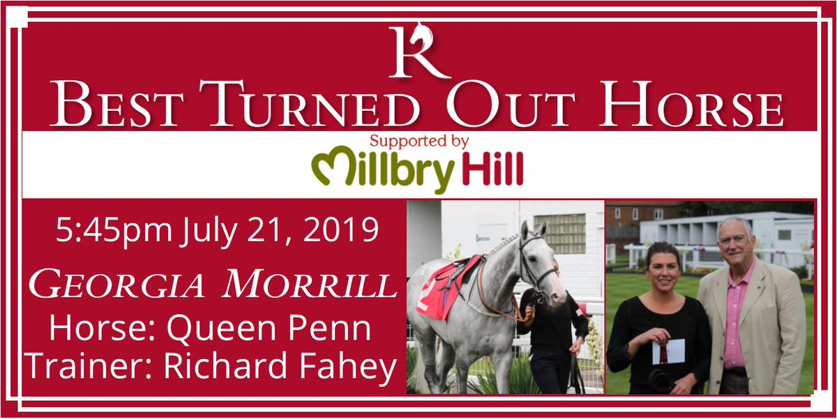 Just two Best Turned Out ribbons left to award today, and one goes to Georgia Morrill, from @RichardFahey, for her work on Queen Penn. Georgia wins a cash prize and a @MillbryHill voucher, presented by Brian Reeves, chairman of race sponsor Redcar Cricket Club.